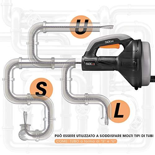Sturatubi di scarico, TACKLIFE 7,5m tubo di pulizia a spirale, il diametro da 7mm adatto al tubo da 19-51mm, Una ideale coclea di drenaggio manuale per il bagno, la fognatura e il lavandino - HGD02A