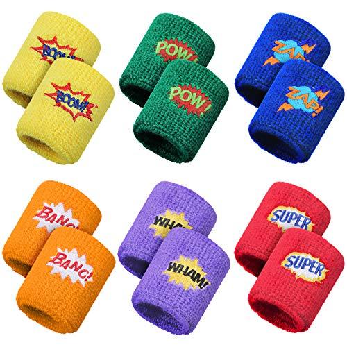 Gejoy 24 Stück Kinder Sport Armbänder Bunte Handgelenk Schweißbänder Baumwolle Frottee Armbänder mit Pow Zap Design für Sport Geburtstagsfeier Gefälligkeiten, 6 Stile