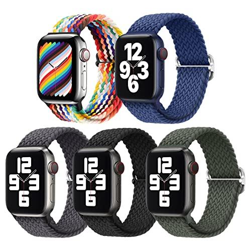 5 Pezzi Intrecciato Solo Loop Cinturini Compatibile con Cinturino Apple Watch 42mm 44mm 45mm per Uomo Donna, Nylon Sport Ricambio Cinturino per iWatch Series 7/6/5/4/3/2/1/SE