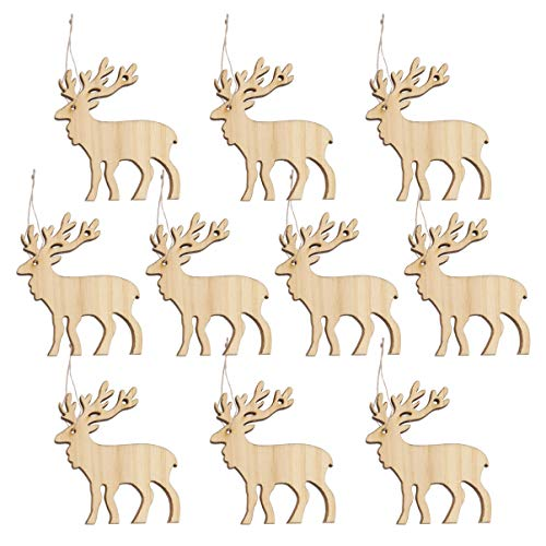 Amosfun 10pcs Hanging Wooden Christmas Tree Decor Ornaments Wood Christmas Gift Tags Unfinished Wood Reindeer Cutouts Shapes Wooden Slices for DIY Craft Painting with Hemp Rope