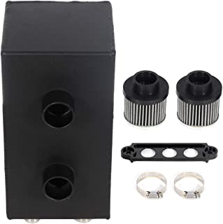 ECCPP Universal Aluminum Engine Oil Catch Tank Can Polish Baffled 4-Ports Reservoir Air-Oil Separator Black
