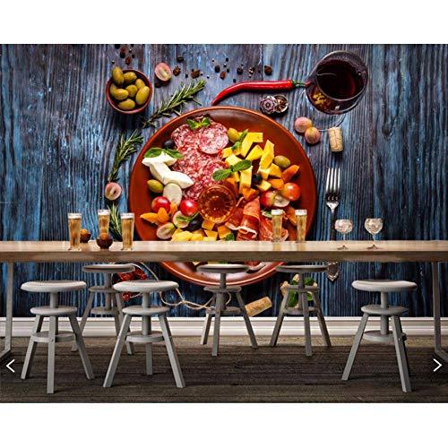 Pmhc muurschilderingen worst olijve ham kaas wijn hout planken eten 3D-behang, fast-food-shop restaurant eetkamer keuken muurschilderijen 120 cm x 100 cm.