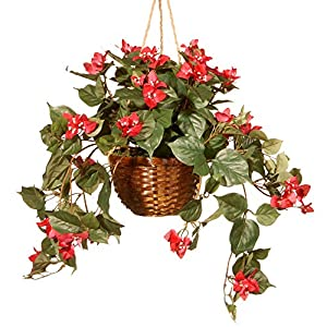 "CC Christmas Decor 13"" Red Amaryllis Artificial Flower Hanging Basket"