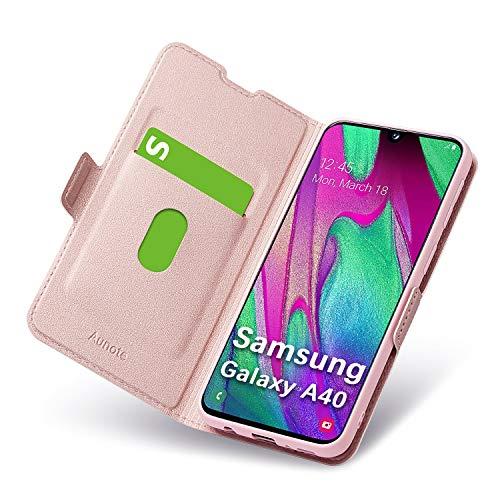 Cover per Samsung Galaxy A40, Flip Custodia Pelle, PU+TPU Silicone Morbida - Completa Protezione. Custodie per Cellulari - Portafoglio Folio con Funzione Supporto e Chiusura Magnetica (Oro Rosa)