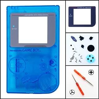 Full Housing Shell Cover + Screen Len for Nintendo DMG-01 GameBoy Gameboy Classic Original GB Transparent Blue
