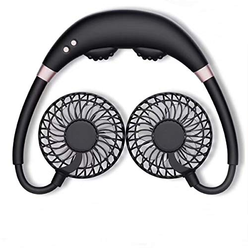 2020 New Portable Massage USB Neck Fan, Hand-free Personal Wearable Cooling Fan, 2000mAH Battery Operated Rechargeable Neck Fan, Neckband Headphone Design with Aromatherapy and Color LED Light.