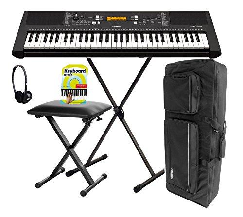 Yamaha PSR-E363 Keyboard, 61 Tasten Deluxe Set (61 anschlagdynamische Tasten 48 Stimmen, 574 Klangfarben, 165 Begleitautomaitk-Styles, inkl. Ständer, Bank, Tasche, Kopfhörer, Klavierschule) Schwarz