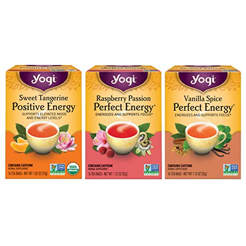 Yogi Tea - Energy Tea Variety Pack Sampler (3 Pack) - Includes Sweet Tangerine Positive Energy, Raspberry Passion Perfect Energy, and Vanilla Spice Perfect Energy Teas - 48 Tea Bags