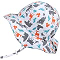 Cute Animal Baby Girl Boy Adjustable Cotton Sun Hat 50 UPF, Stay-on Tie (S: 0-9m, Floppy Hat: Woodland - Toggled Chinstrap)