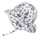 幼児用 50+ UPF 日光予防帽子 Sun hat、 サイズの調整可能、チン・ストラップ付き(M: 6-36ヶ月, 動物のシルエット)