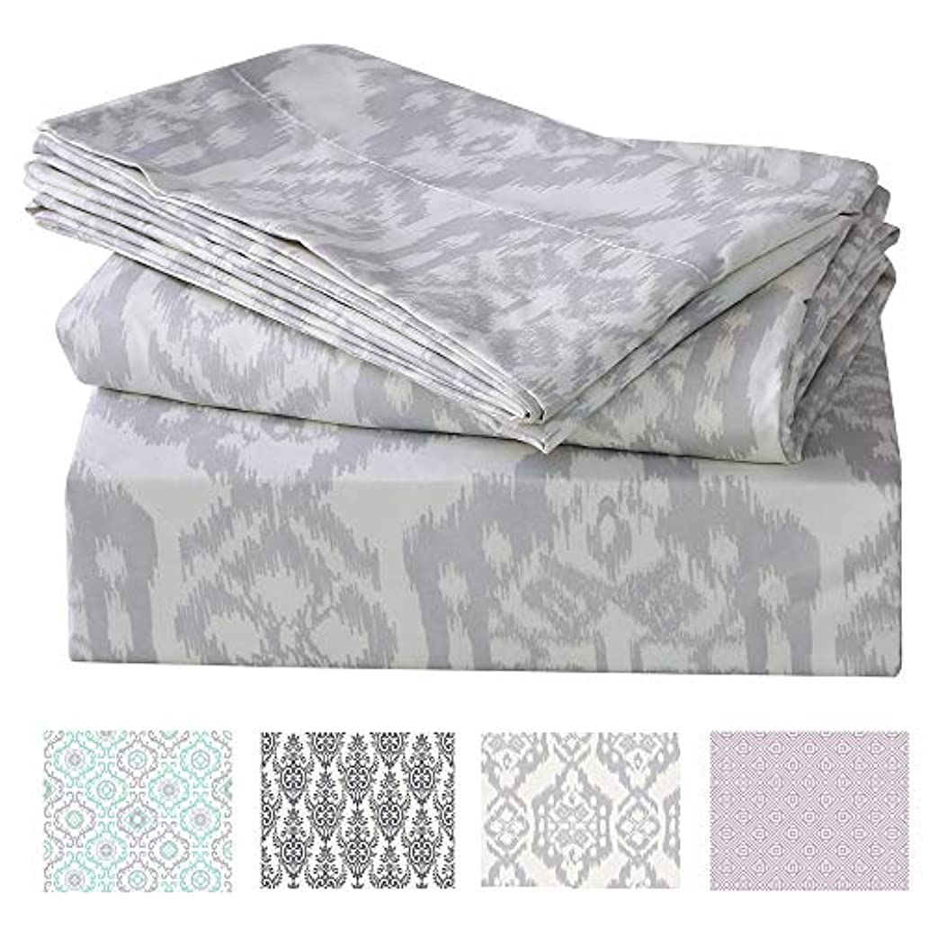 Printed Bed Sheet Set Queen Size 100% Polyester Soft Brushed Microfiber Bedding Sheet, Hypoallergenic, with Deep Pocket Fitted Sheet, Luxury Bedding Collection (Satorini, Queen)
