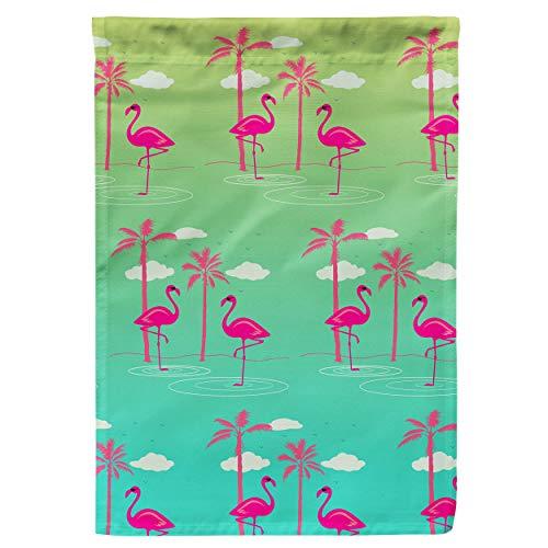 Regenboog Regels Tuin Vlag - Flamingos In Zonnebril Small Garden Flag 12x18in Groen