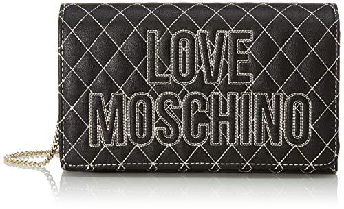 Love Moschino Damen Borsa Pu Kuriertasche, Schwarz (Nero), 13x23x6 Centimeters