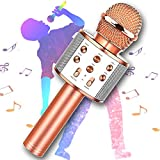 Wireless Karaoke Microphone, KINDRM Multifunction Portable Handheld Bluetooth Mic Home Party Singing Machine Speaker System, Best Gifts for Kids, Girls, Boys, and Adults (Rose Gold)