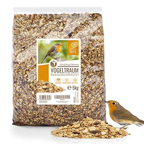 wildtier herz corazón Animal Salvaje I Sueño de pájaro sin Concha - alimento Premium para pájaros 5 kg, alimento para pájaros Silvestres sin Trigo, alimentación terrestre