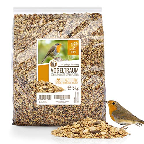 wildtier herz I Vogeltraum Schalenlos - Premium Vogelfutter 5kg, Wildvogelfutter ohne Weizen, Bodenfütterung, Vogel Streufutter