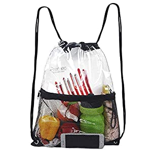 Clear Drawstring Bag, PVC Drawstring Backpack with Front Zipper Mesh Pocket...