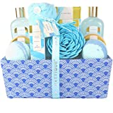 Spa Luxetique Bath Gifts for Women, Ocean Spa Gift Basket, Luxury 12 Pcs Bath Gift Box, Relaxing at Home Bath Set Includes Massage oil, Bath Salts, Bath Bombs, Body Scrub, Best Spa Gift for Women.