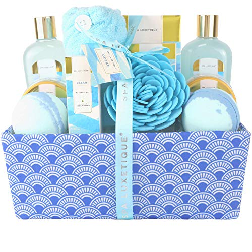 Spa Luxetique Bath Gifts for Women, Ocean Spa Gift Basket, Luxury 12 Pcs Bath Gift Box, Relaxing at...