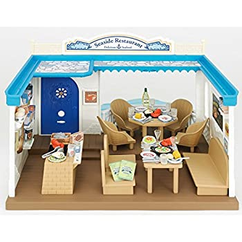 Calico Critters Family Seaside Restaurant - Calico Critters House/Store Perfect for all Animal Visitors - Over 70 Pieces Included - Promotes Cognitive Development - Create Your Own Calico Village
