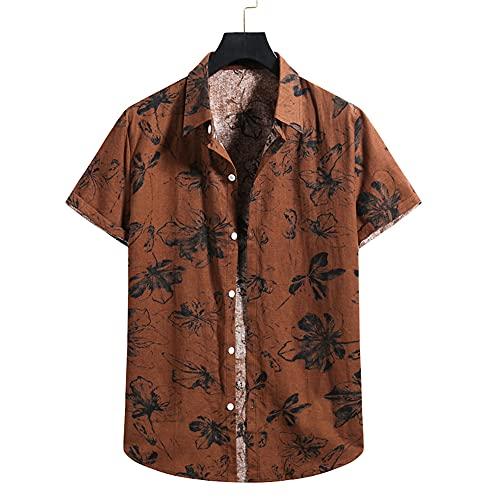 Camisa De Playa Hombres Imprimir Casual Camisa Hombre Transpirable Verano Fresco Ligero Cómodo Ajuste Regular Hombres Manga Corta Nadar Surf Hombres Camisa Hawaii A008 M