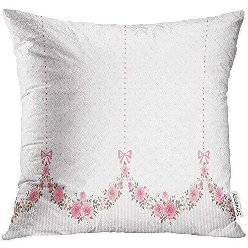 QDAS kussensloop slingers van rozen strikken op polka dot bloemenrand eindeloos horizontaal shabchic decoratieve kussensloop kussensloop