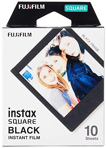 Fujifilm Instax Square Black Frame, Film Pellicola Istantanea, Formato Quadrato, 62x62 mm, Confezione da 10 Foto, Bordo Nero
