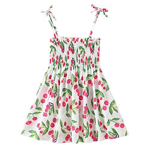 Julhold Vestido de verano con correa acanalada para niña, vestido de princesa, sin mangas, para bebés