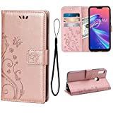 Teebo Wallet Case for Asus Zenfone Max (M2) ZB631KL,[Embossed Butterfly Flower] PU Leather Flip Case with Card Slots Holder Kickstand Magnetic Closure for Asus Zenfone Max (M2) ZB631KL(Rose Gold)