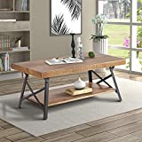 Wood Coffee Table, Rustic Industrial Solid Wood Coffee Table with Metal Legs and Storage Shelve, 43 Inches.