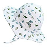 Jan & Jul Baby Boy Cotton Sun Hat 50 UPF, Adjustable Good Fit, Stay-on Tie (S: 0-6m, Dino)