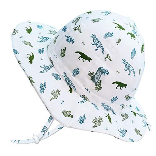 JAN & JUL Baby Infant Dinosaur Cotton Sun-Hat for Boy, UV Protection (S: 0-6 Months, Dino)
