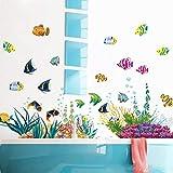 etiqueta de la pared/etiqueta de la paredbajo el mar el mundo está lleno de color peces de mar acuario tazón de agua peces etiqueta de la pared decorativa pegatinas de baño
