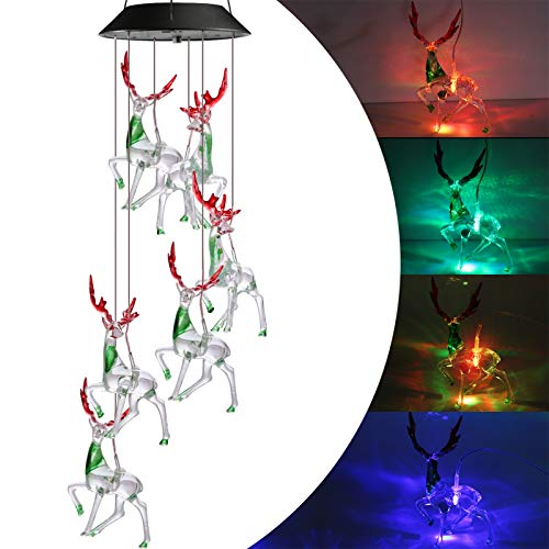 Toodour Christmas Lights, Color Changing Christmas Reindeer, Outdoor Christmas Decorations Solar Wind Chimes, 6 LED Deer Decorative Mobile for Balcony, Bedroom, Party, Yard, Window, Garden Decorations