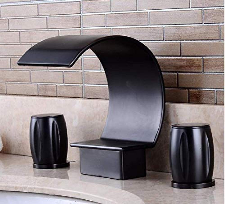 MONFS Home Wasserhhne Moderne Wasserfall Becken Wasserhahn Bad-Accessoires Schwarz Pinsel Nickel Retro Wasserhhne Heie und kalte Mischer Wasserhahn Kranhhne