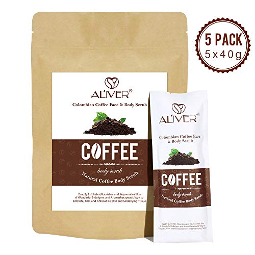 Coffee Body Scrub, Cellulite removal cream, Anti cellulite arm thigh abs tight and firming, Moisturizing Body Exfoliator, face and lip scrub (5 Packs)