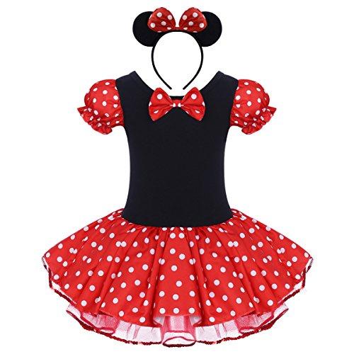 IBTOM CASTLE Vestido de Fiesta Princesa Disfraces Tutú Ballet Lunares para Bébes Niñas con Braga Interior con Diadema Rojo 12-18 Meses