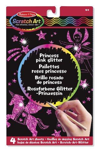 Melissa & Doug - 15810 - Feuilles de dessins Scratch Art : Paillettes Roses Princesse