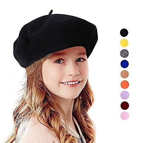 190ecd0891 Bonaweite French Wool Berets Hat Classic Fashion Warm Beanie Cap for Girls