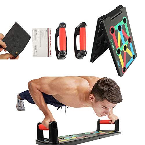 9 in 1 Push Up Board, flessioni Fitness System Stand, Pieghevole Multifunzionali Push Up Rack Board,Maniglie per flessioni, con Fascia di Resistenza Attrezzature per il Fitness e Palestra Maniglia