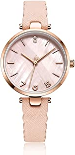 PANFU-AU Natural Shell Dial Female Watch Womens Analogue Quartz Watch with Leather Strap (Color : White)