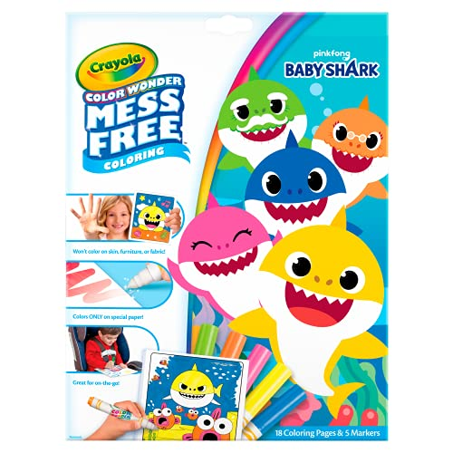 Crayola Baby Shark Wonder Pages, Mess Free Coloring, Gift for Kids, 1 Count(Pack of 1)