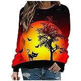 Sudaderas para mujer Halloween Casual impresión térmica cuello redondo manga larga camisetas sueltas túnica Tops con cordón, amarillo, 3XL