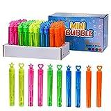 FORMIZON Burbujas de Jabon Niños, 50 Pompas de Jabon 5 Colores Varitas, como Decoración Y Regalo, Juguete Boda Burbujas de Jabon, Actividad de Verano Al Aire Libre Mini Burbujas para Niños