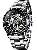 Alienwork IK Reloj Mecánico Automático Relojes Automáticos Hombre Mujer Acero Inoxidable Plata Analógicos
