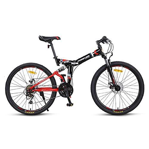 Bicicletas de Montaña, Bicicletas Plegables, Bicicletas de Carretera, Ruedas de 24/26 Pulgadas, 24 Velocidades, Bicicletas de Montaña con Doble AmortiguacióN, para Adultos/rojo / 175×97cm