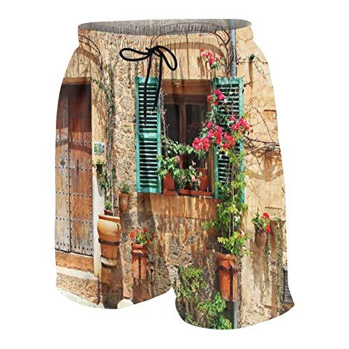 KOiomho Hombres Personalizado Trajes de Baño,Impresionante Imagen de Ciervo Ciervo en otoño brumoso Imagen de Paisaje de Bosque Colorido,Casual Ropa de Playa Pantalones Cortos