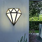 Aplique Exterior HOMEOW 12W Lámpara de Pared LED IP65 Impermeable Luz de Pared Diamante 3000K Blanco Cálido 900LM Negro para Interior Jardín Terraza Baño Garaje
