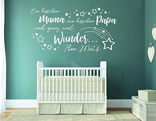 tjapalo® w-pkm358 wandtattoo ein bisschen mama ein bisschen papa und ganz viel wunder - mit namen (B120 x H58 cm)