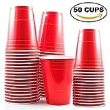 50 tazas rojas de 16 oz - Accesorio de fiesta para la celebración de Navidad y cumpleaños - Vajilla y artículos para el hogar Ideal para el juego American Beer Pong - Soporte de decoración